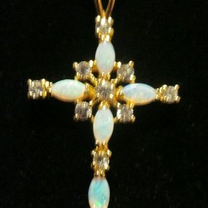 Cross Gold Plated with Opals and Cubic Zirconia